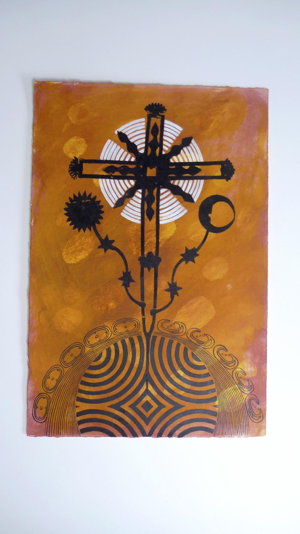 "Chiapas Cross / Brown Ink / Mayan Calendar (2010) Op Art Circle Arches  15 x 22"""