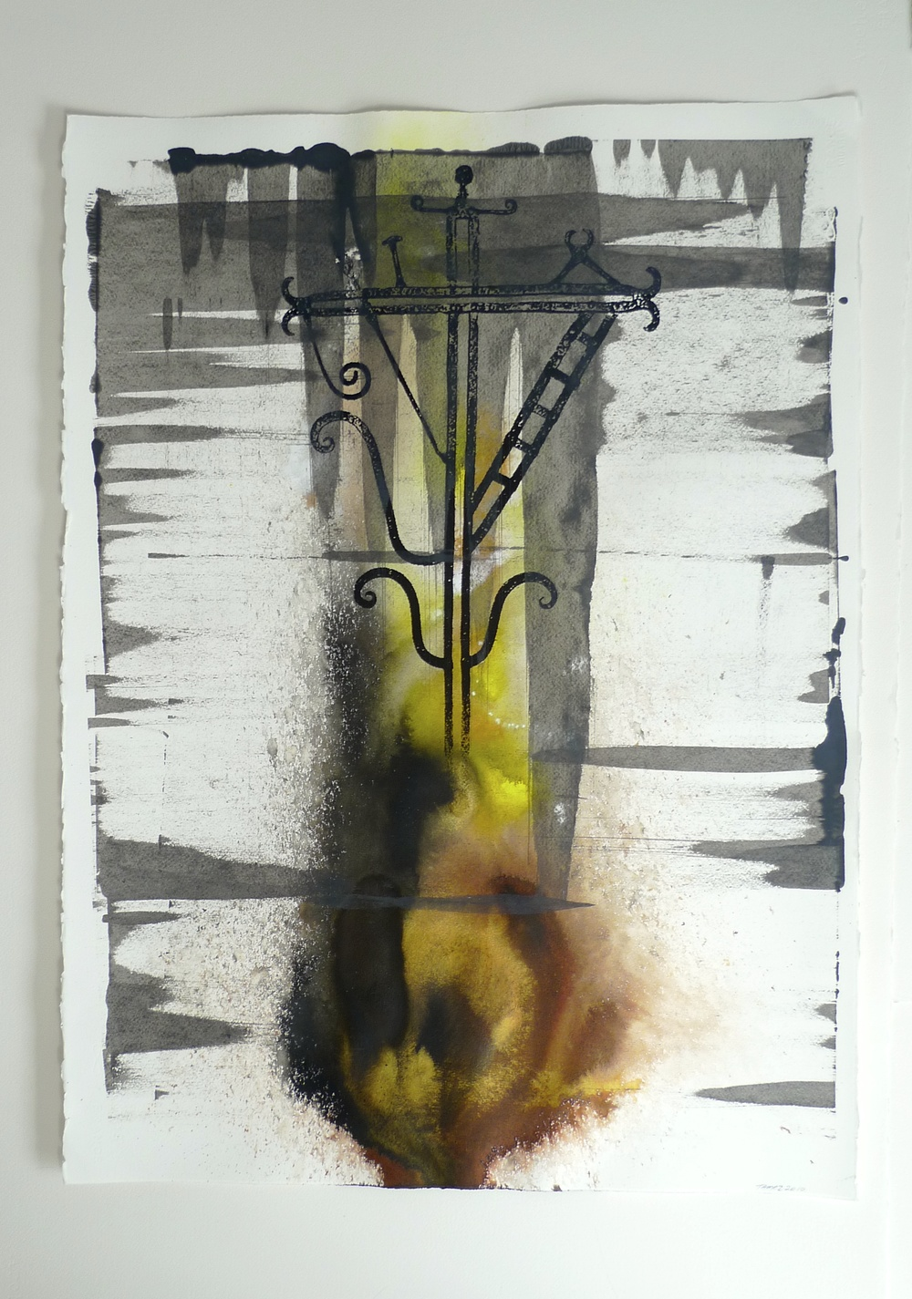 Chiapas Cross          (2010) Ink  Gold Paint  Squeegy Arches  22 x 30""