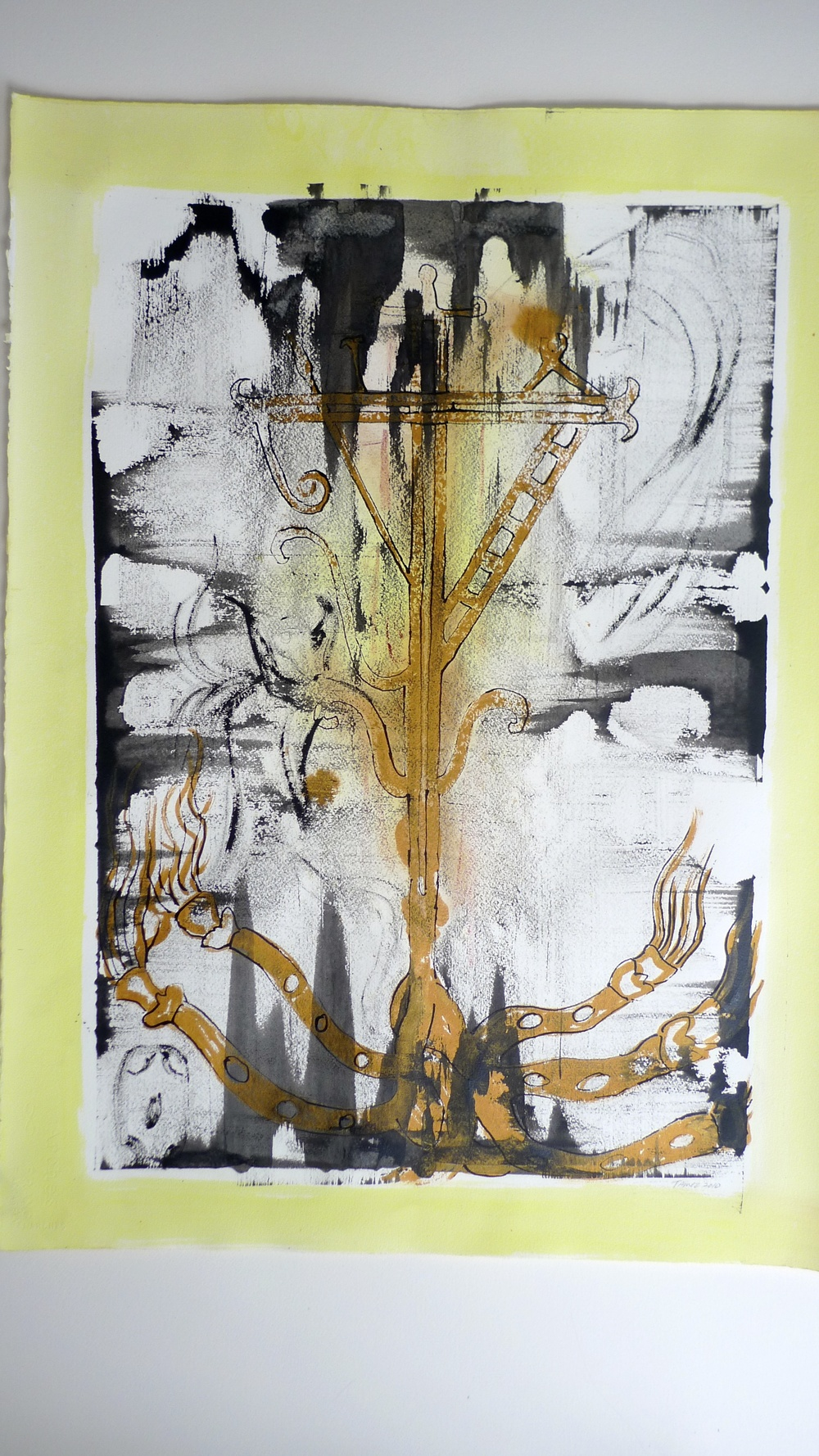 Mayan Roots (2010) Yellow / Black Ink & Earth Shade  Arches Paper  22 x 30""