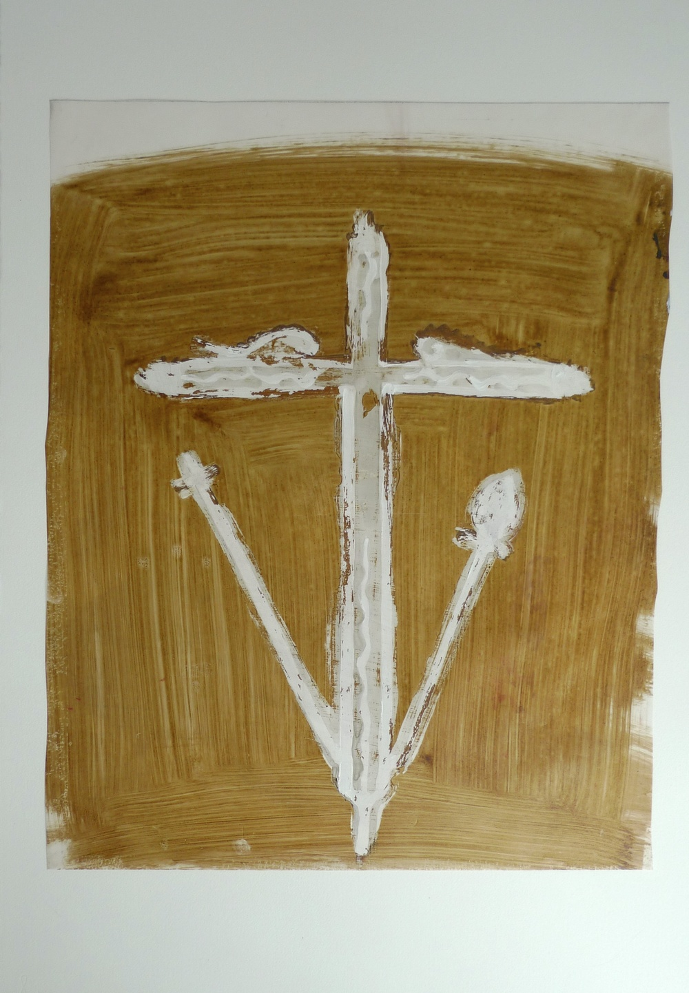 White Cross (2011) Vellum Brown Ink   21 x 27""