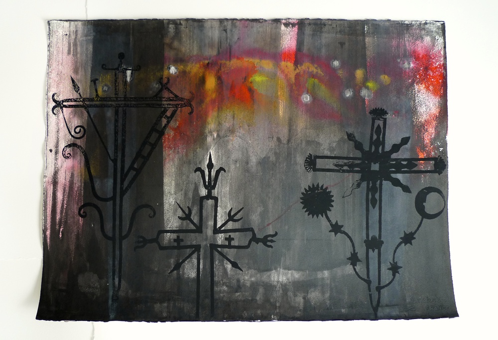 3 Crosses Ink / Silk Screen Arches  30 x 22""