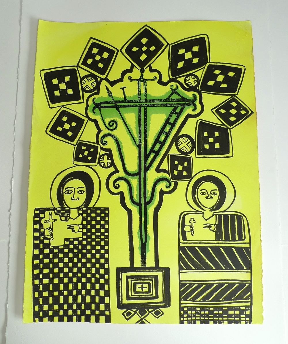 """""""Ethiopian Medicine Chiapas Cross""""  Silkscreen and ink on paper -22 x 30""""  Original Painting in the collection of Kat Parker - Petzel Gallery"""