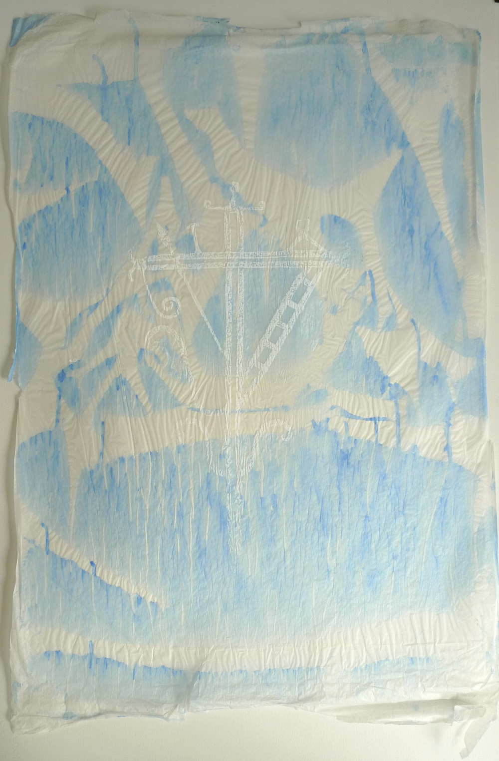 Impression Tracing Paper Ink Stain in Blue Silk Screen  23 x 34""