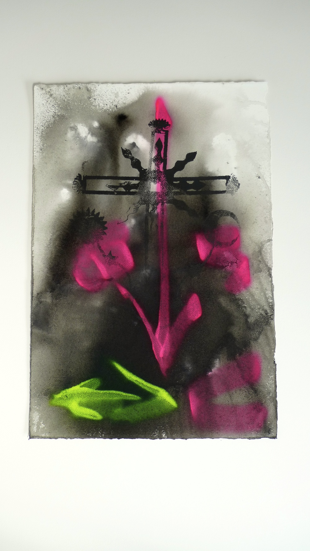 Approach I (2011)  Flourescent Spray Paint / and Silk Screen  Arches Paper Ink  15 x 22""