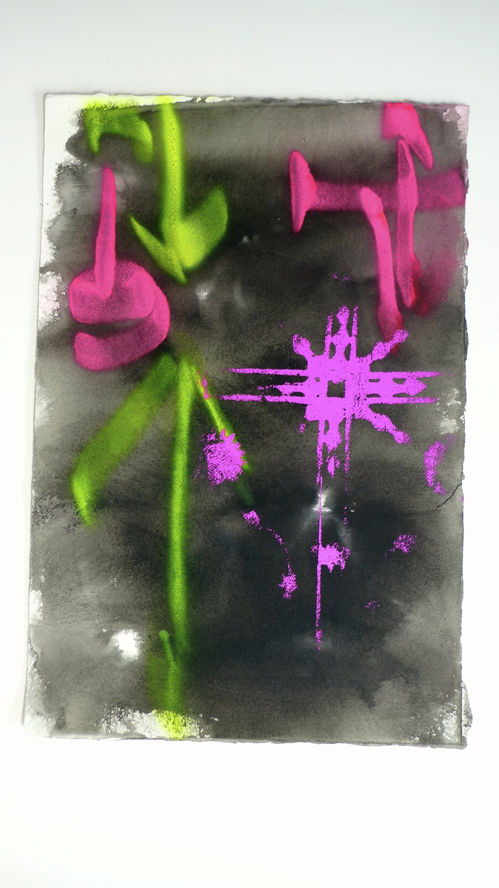 Approach II  (2011)  Flourescent Spray Paint Arches Paper   15 x 22""