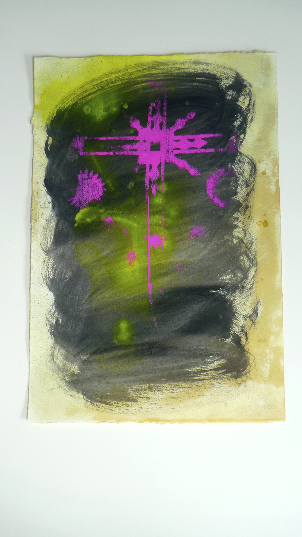 Approach III   (2011)  Flourescent Spray Paint Arches Paper   15 x 22""