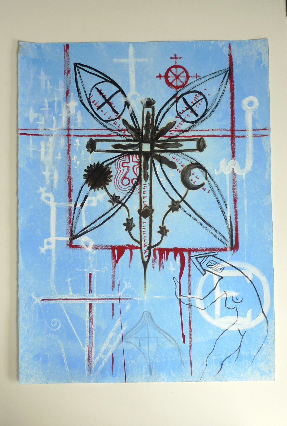 Cross / Signs & Symbols  (2010) Ink  Arches Paper  22 x 30""