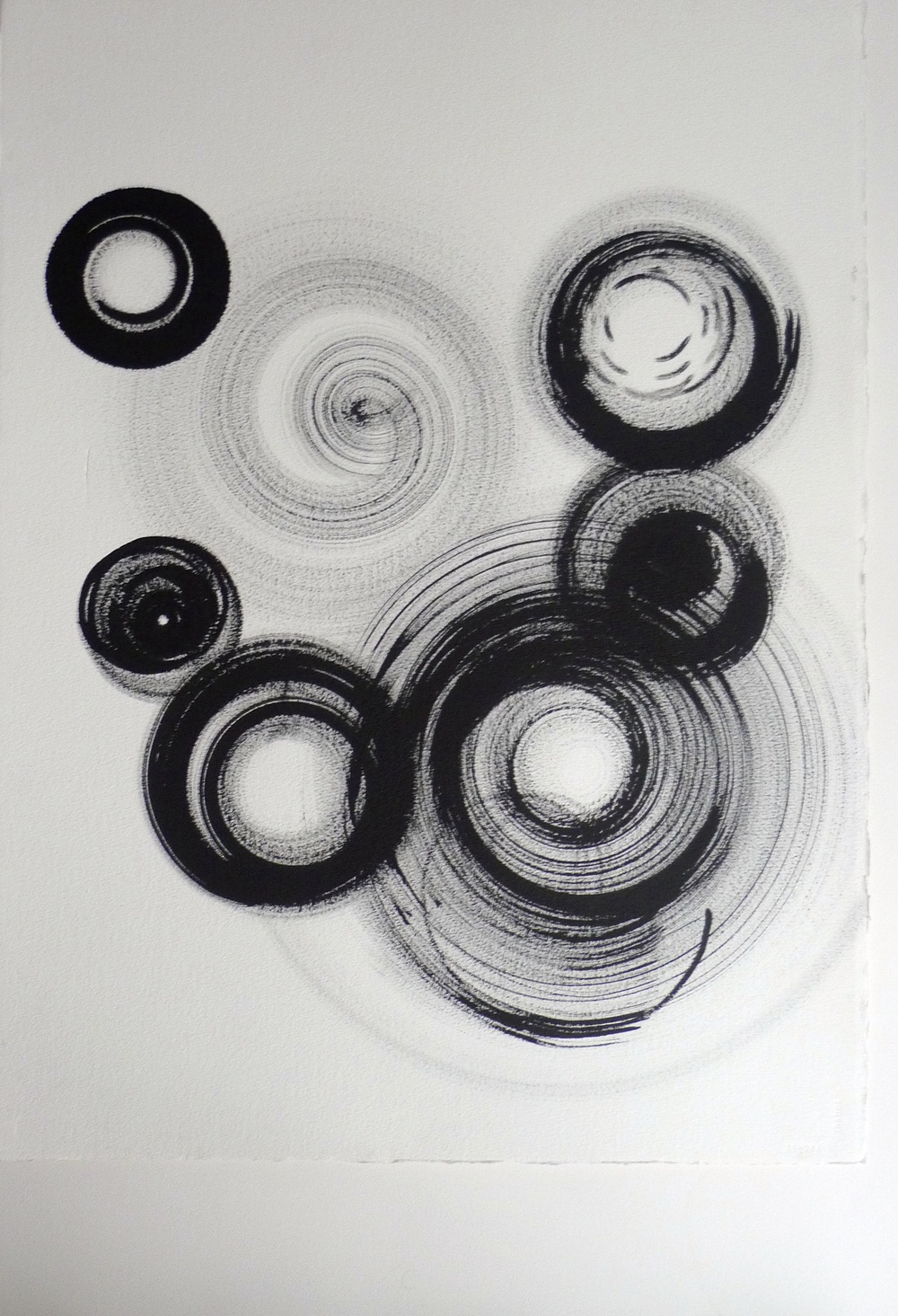Black Ink Spinning Wheel Circles on Paper  Arches Paper  22 x 30""
