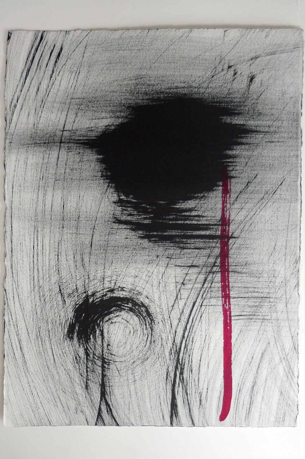 Abstract Black Ink w/ Red Strip Arches Paper  22 x 30""