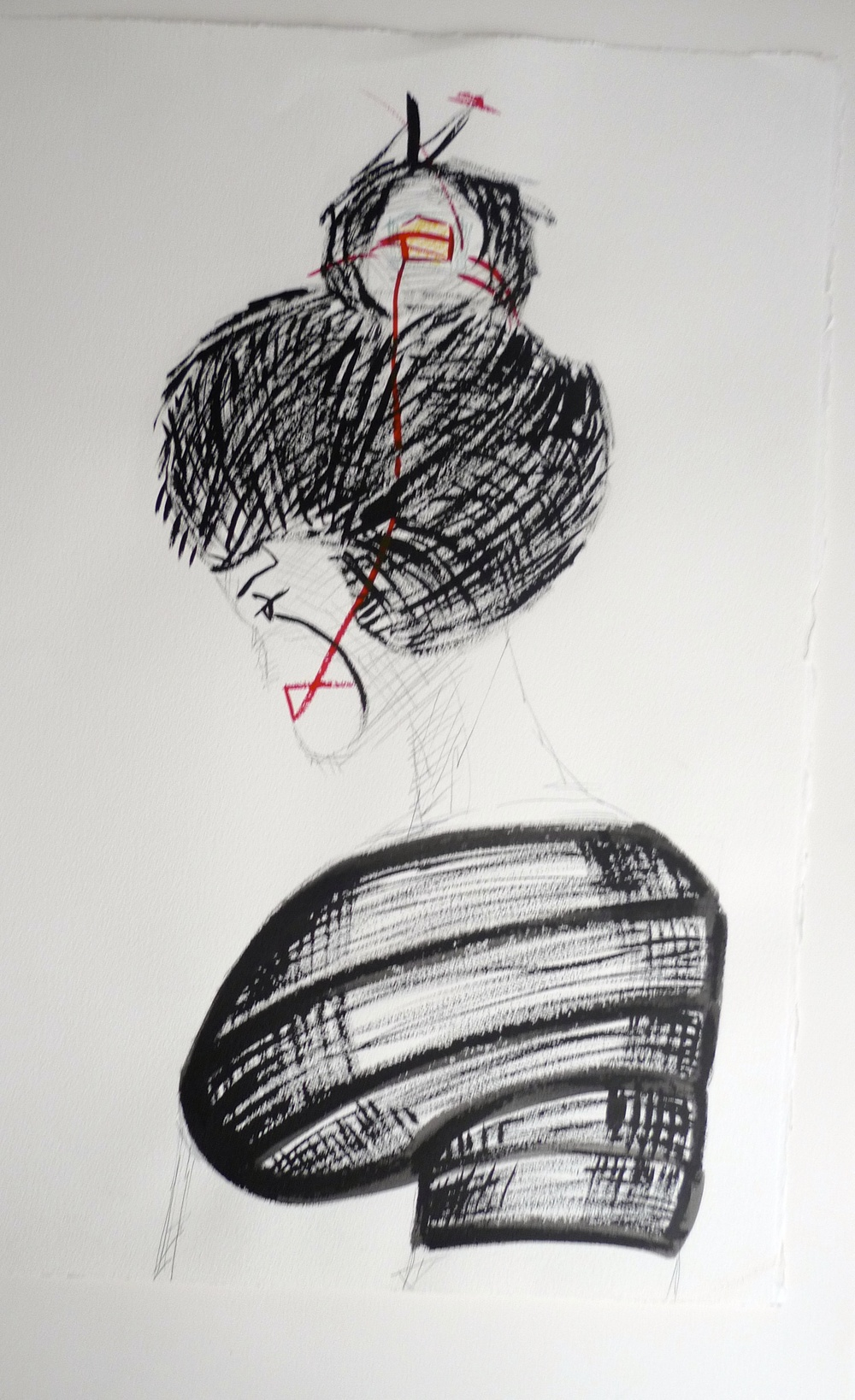 Ink & Pencil Japanese Woman        (2012) Arches Paper  22 x 30""