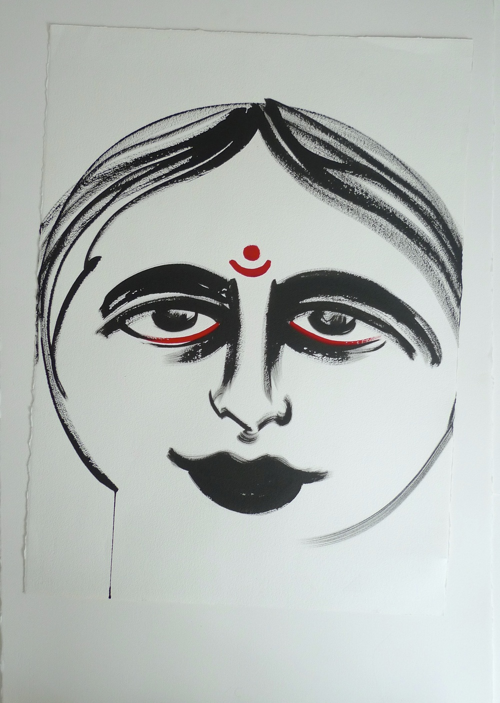Indian Woman Done for Rome Diety Art Show Black Ink & Red  22 x 30""