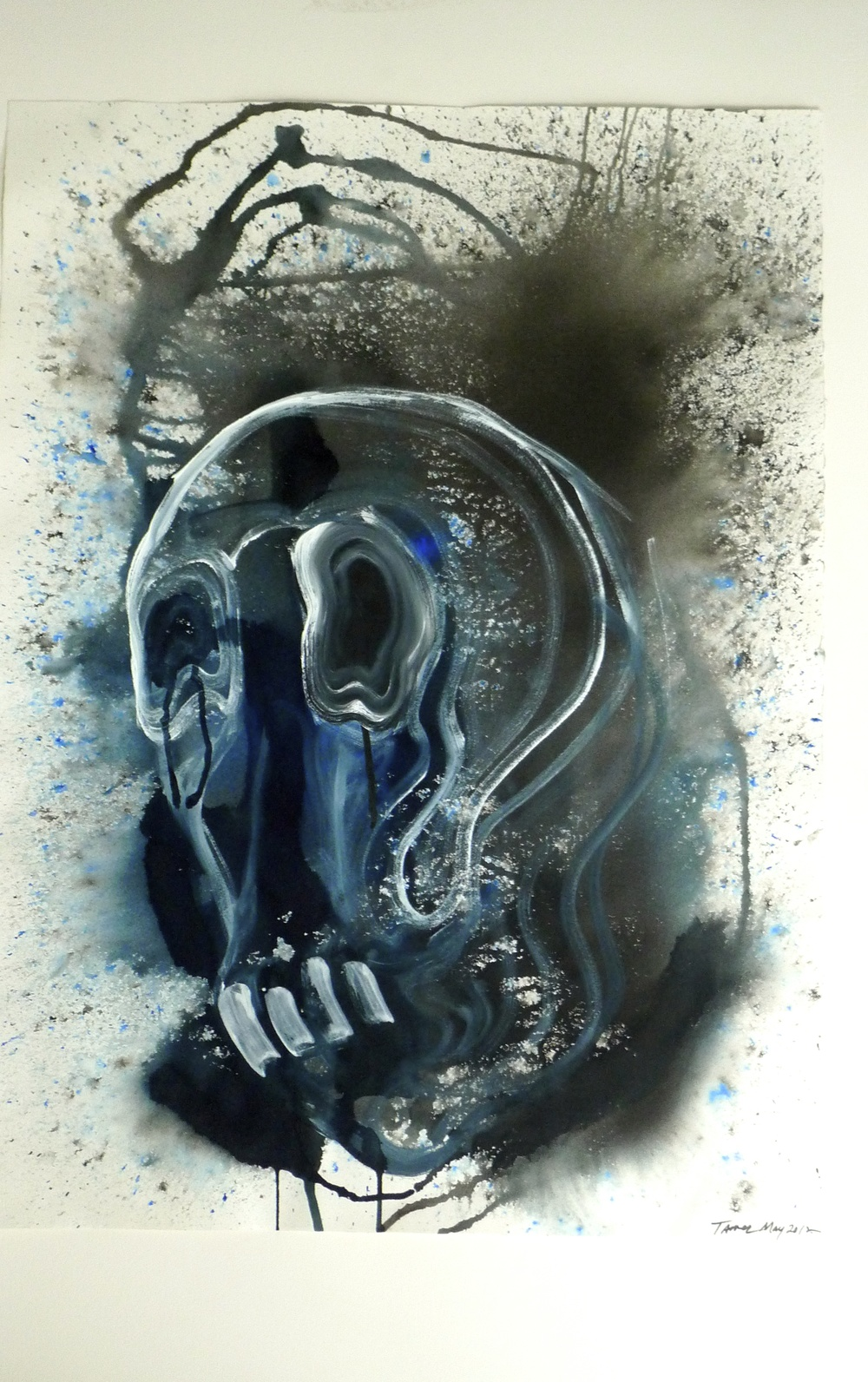 Blue / Black / White Figure & Skulls   (2012) Ink Arches Paper  22 x 30""