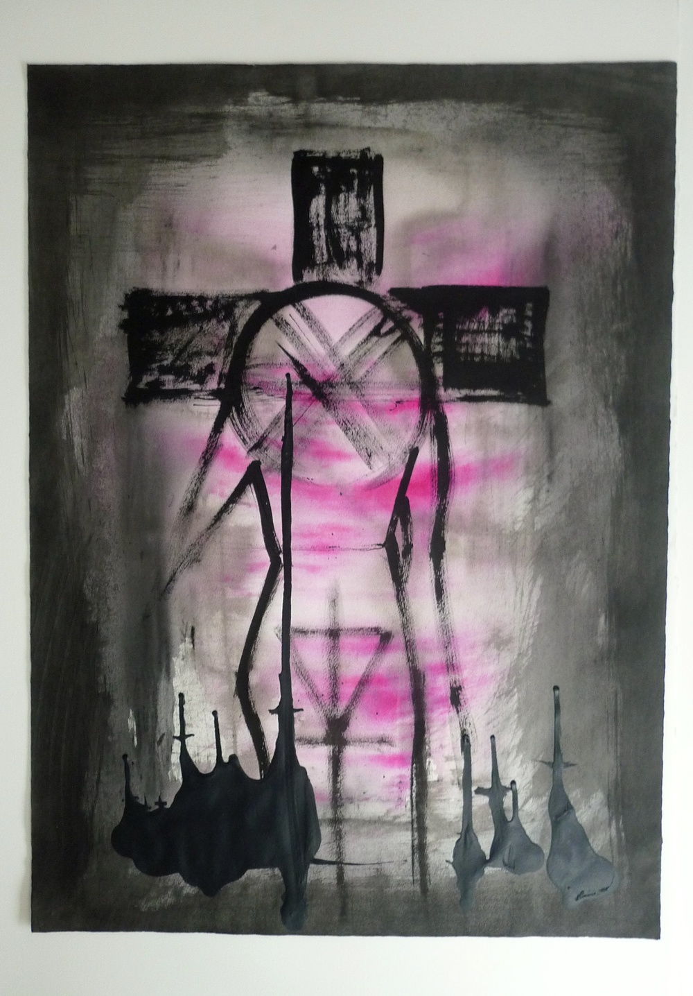 "Cross Head - Pink  Sumi Ink, paint on paper  16"" x 22"""