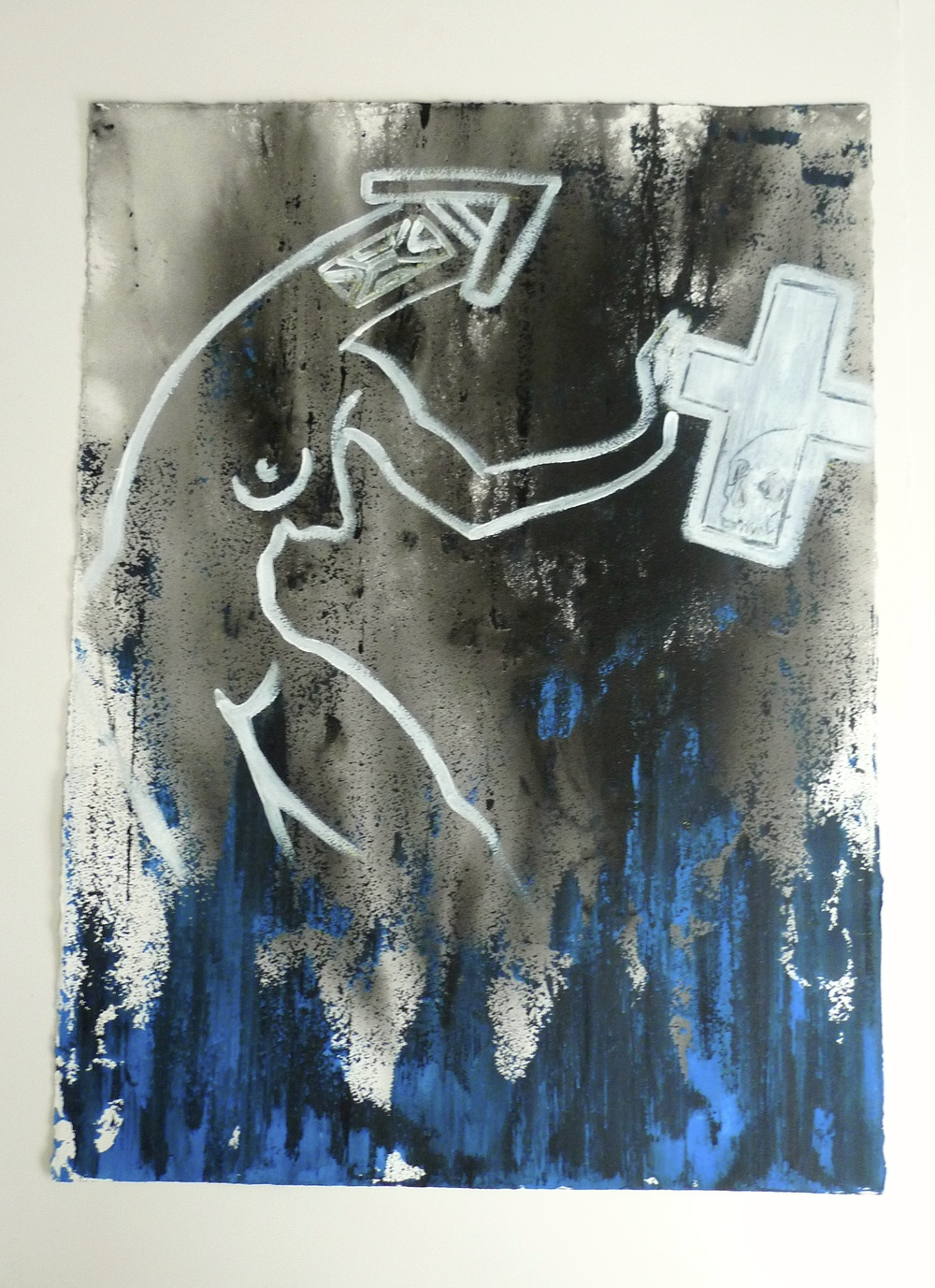 House Head and Cross with Skull  Ink & Acrylic   Arches Paper   22 x 30""