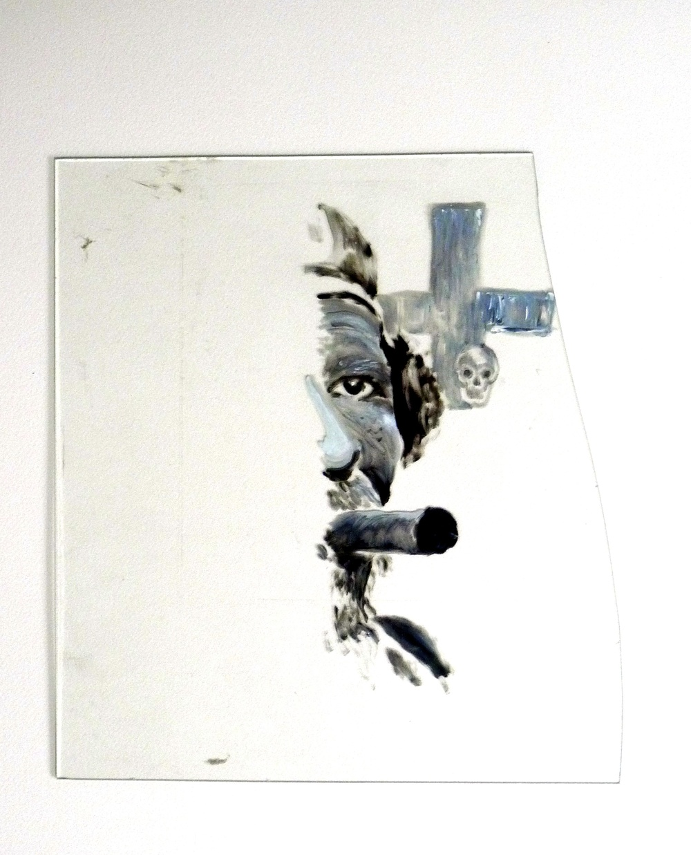 "Rebel Cuban  Oil paint on broken glass  11.5"" 12"""
