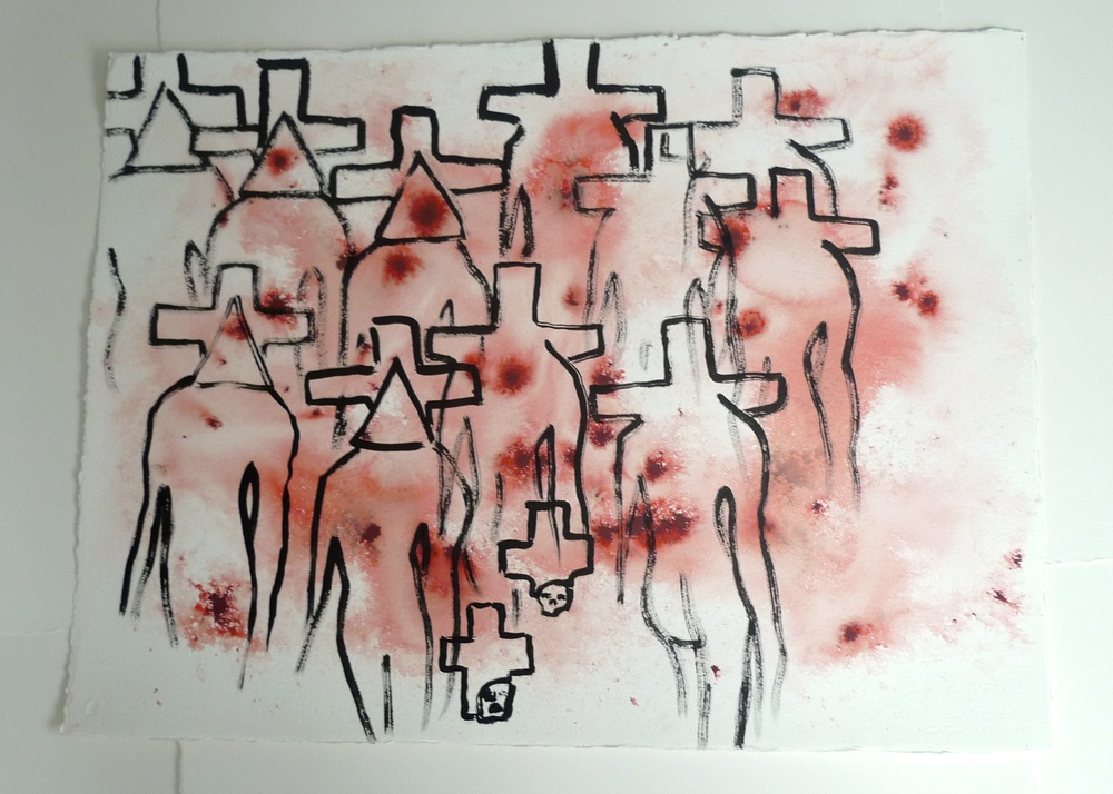 Village of Cross and Triangle Heads   Thick Arches  Ink  30 x 22""