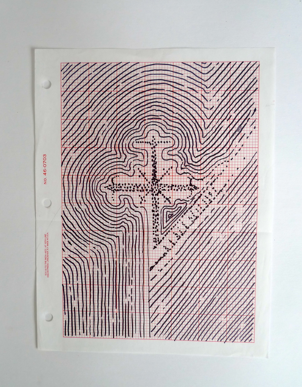 "Reverberating Cross  Ink on graph paper  8.5"" x 11"""