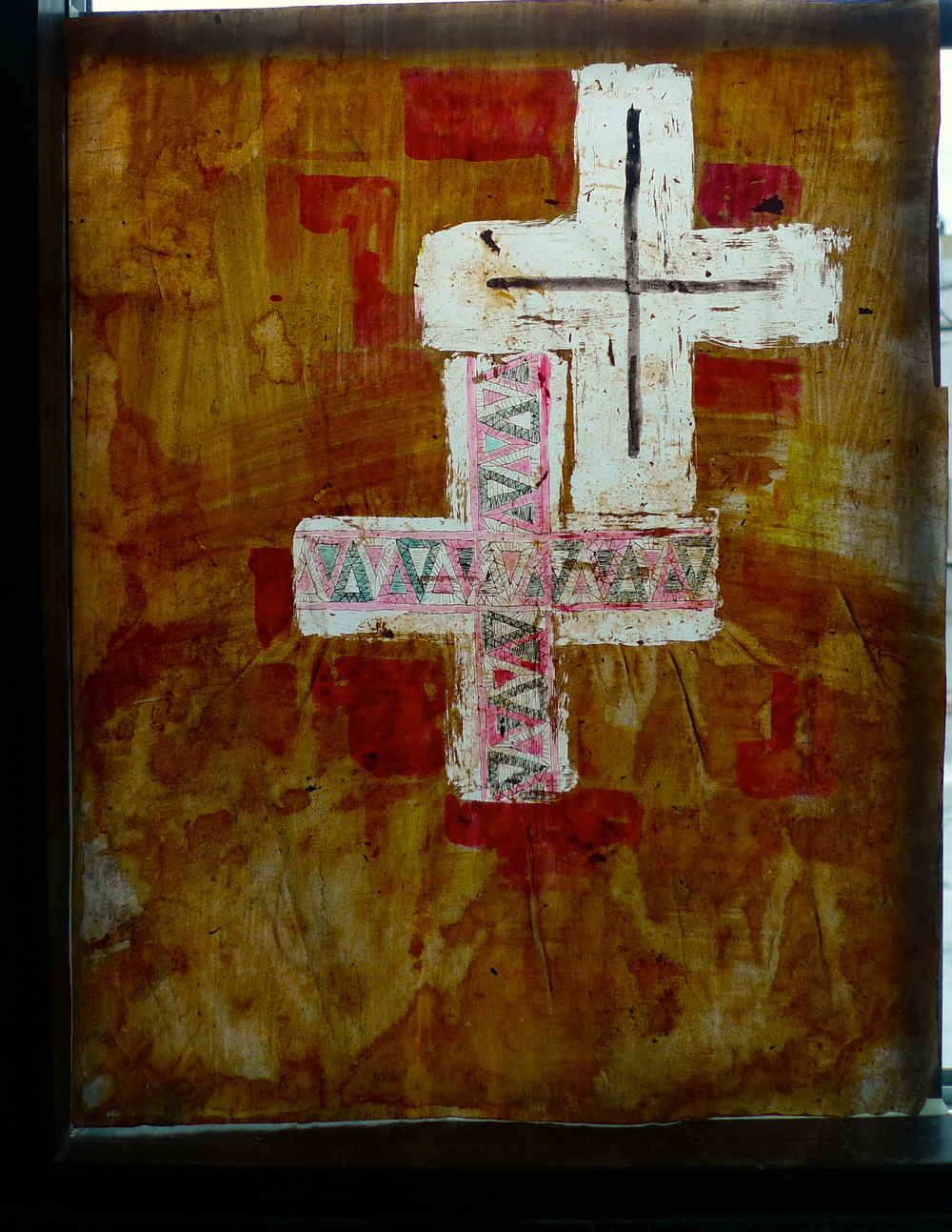 "White Crosses  Glue, ink on Vellum  13"" x 16"""