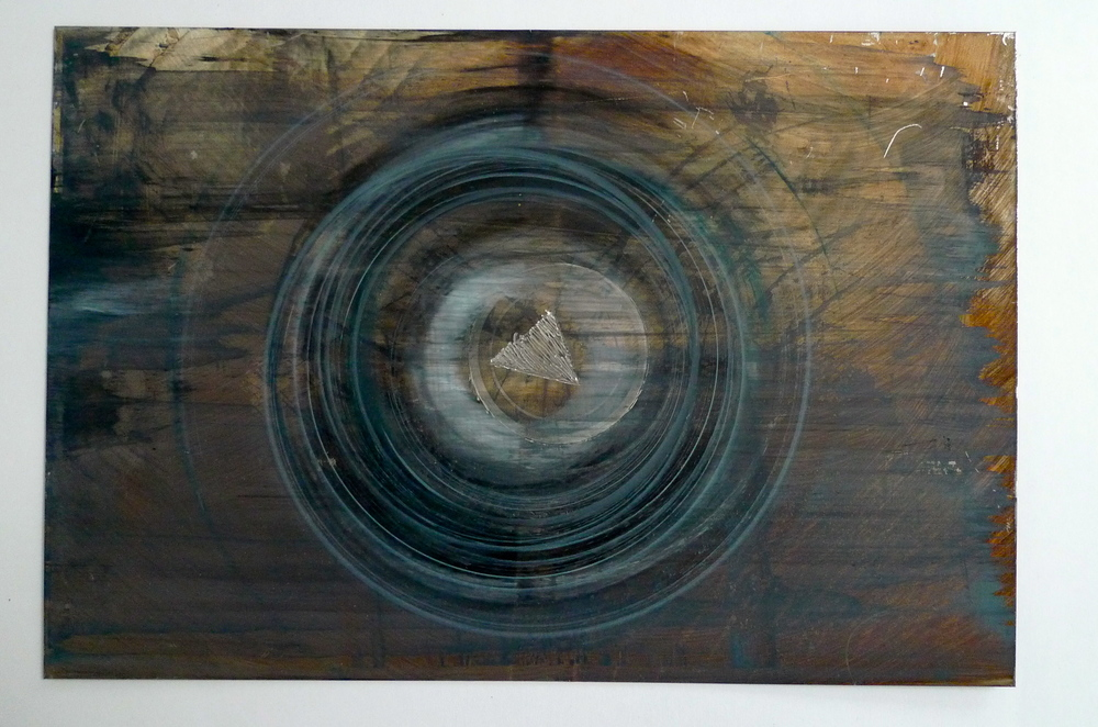 "Tunnel XVI  oil stain, paint spun with wheel on steel  12"" x 18"""