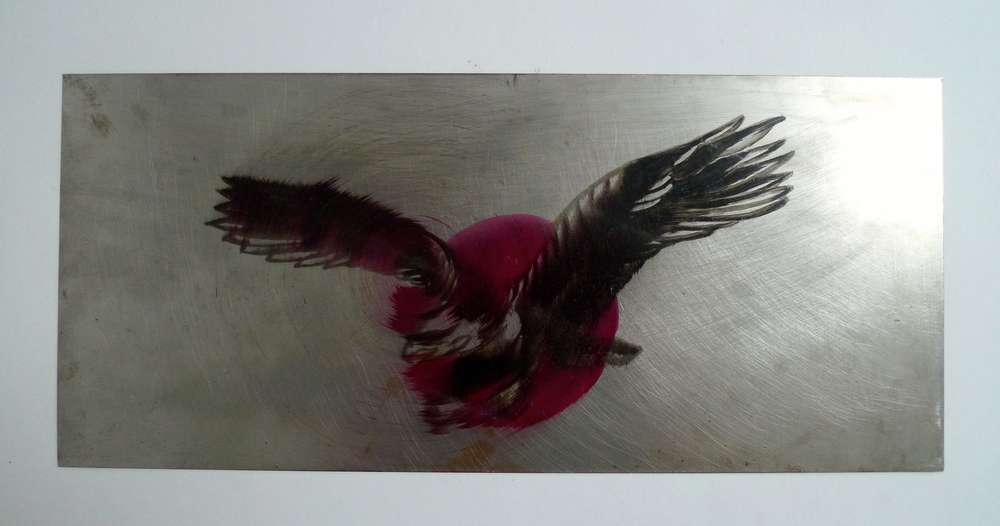 "Eagle Flash  Spun oil paint on steel  8"" x 18"""
