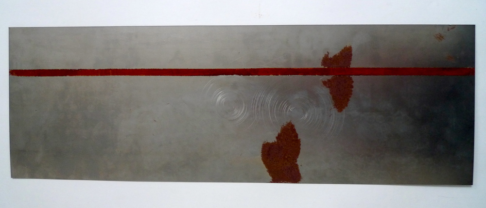 "Tunnel XIX  Red paint, enamel on steel  12"" x 24"""