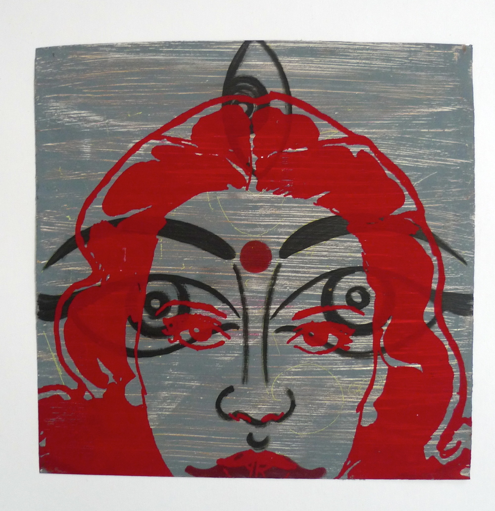 Lakshmi  Acrylic paint, silkscreened face on aluminium  12 x 12""
