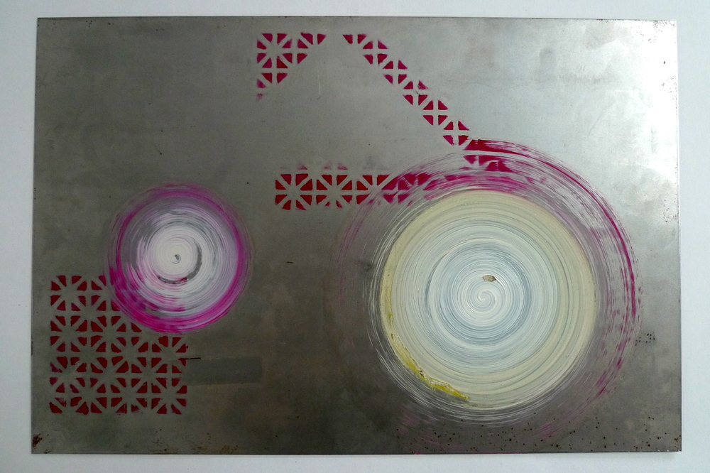 "Two orbs  Oil paint spun onto steel  18"" x 12"""