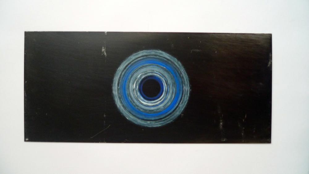 "Black & Blue  Acrylic spun on steel  8.5"" x 18"""