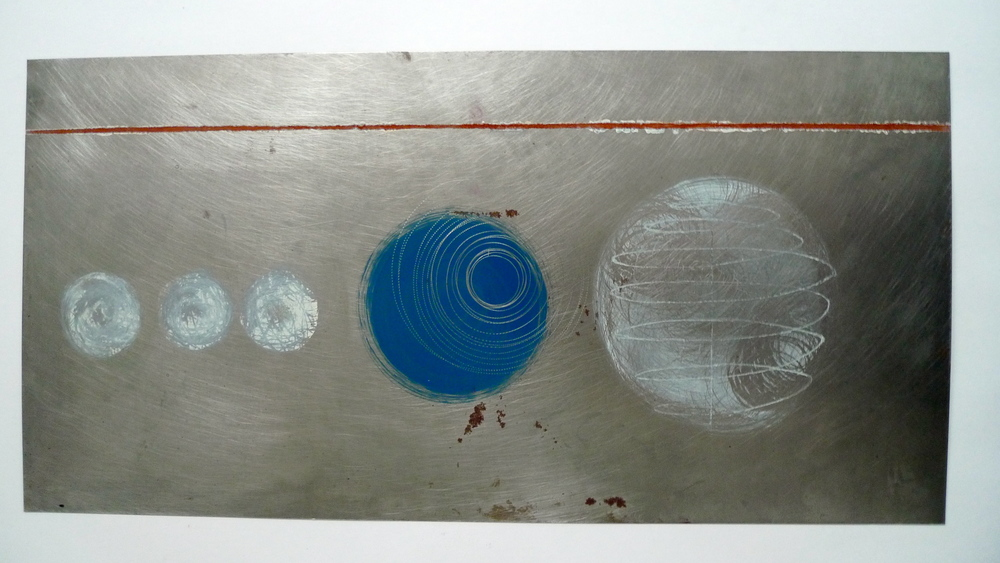 "Red Line  Oil paint spun on steel  12"" x 24"""