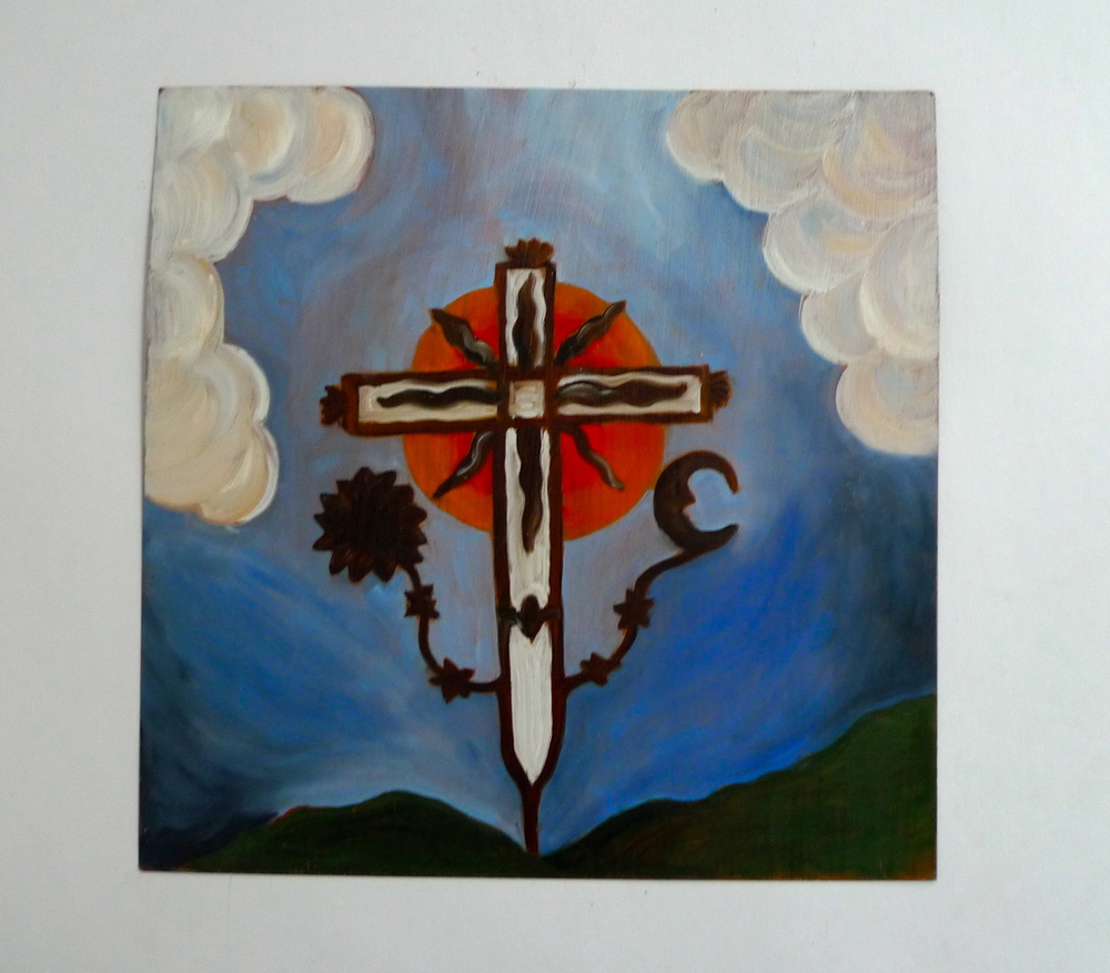 Retablo Cross  Oil on Steel  12 x 12""