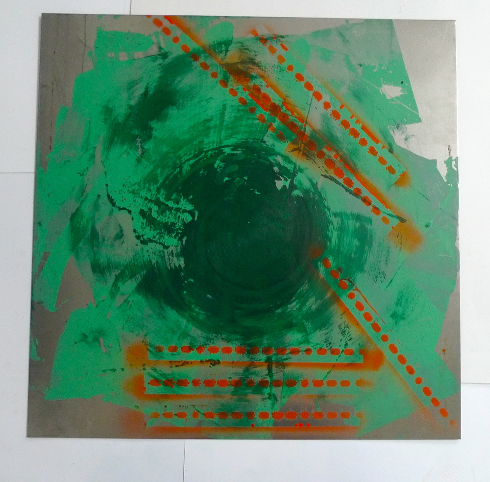 "Green & Orange  Laytex house paint, spray paint on steel  24"" x 24"""