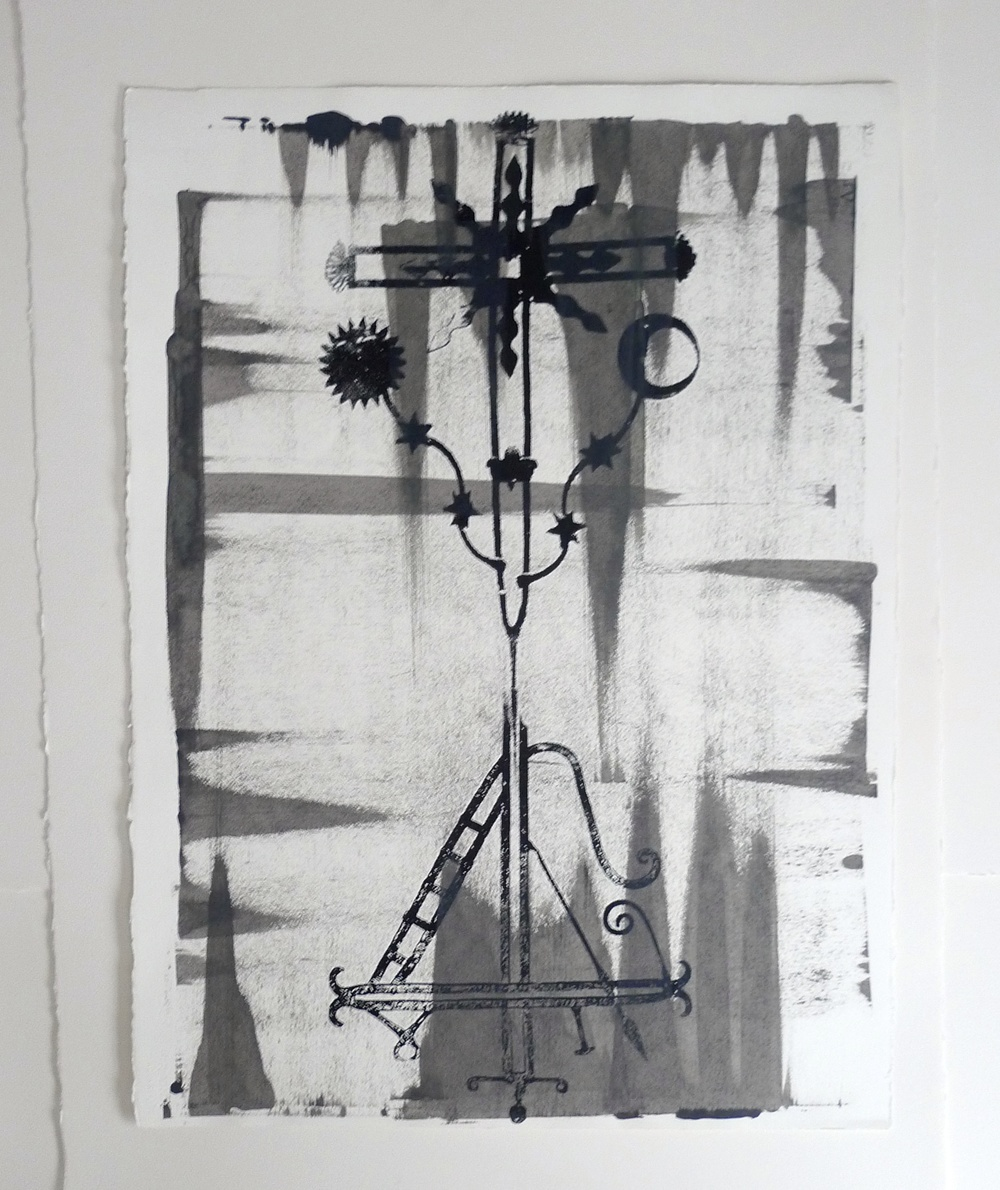 Double Headed Chiapas Crosses (2010) Black Ink / Squeegee  22 x 30""