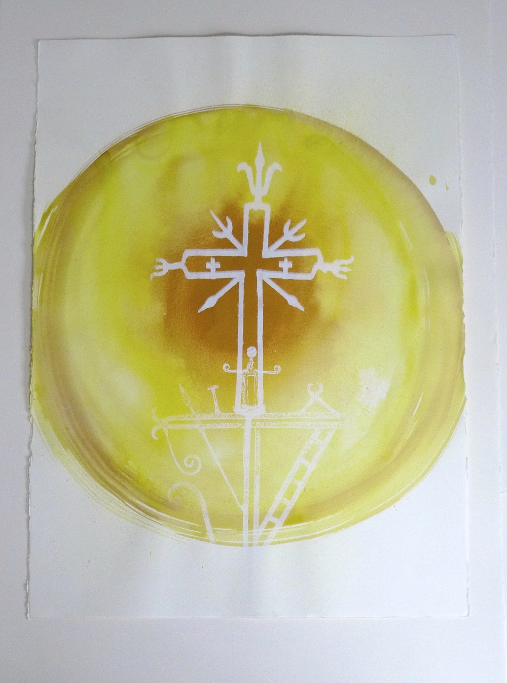 Yellow Orb White Cross Ink  2010  15 x 23""
