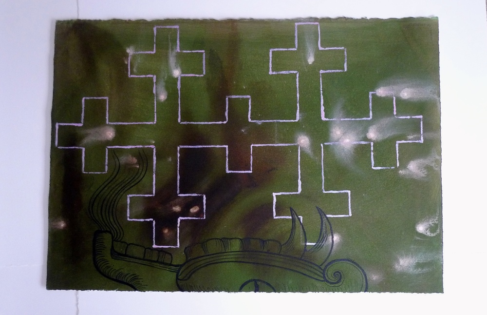 Cross and Quetzacoatal Luminescent Ink  2010  30 x 21""