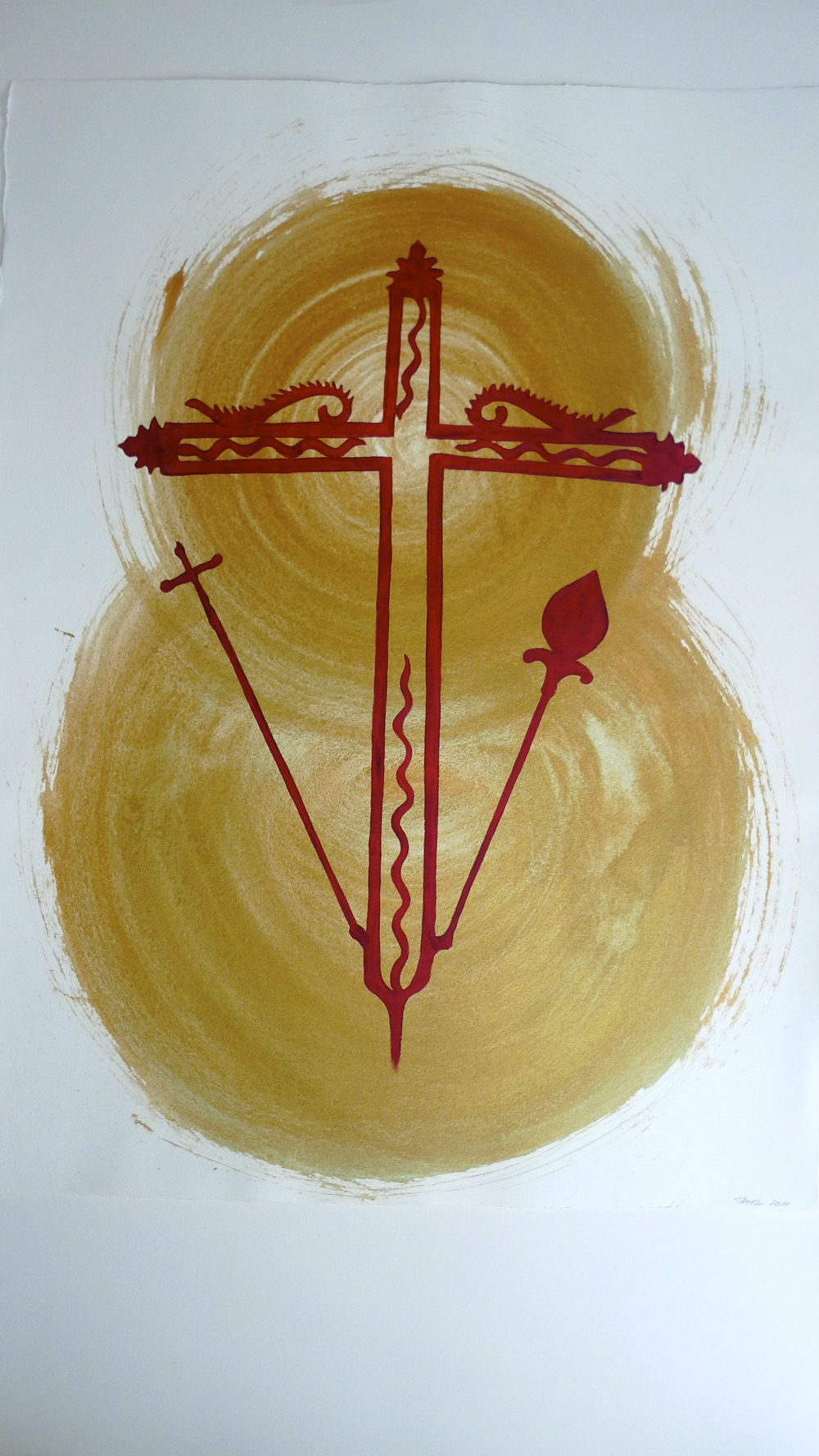 Gold Double Orb with Red Chiapas Cross  22 x 30""