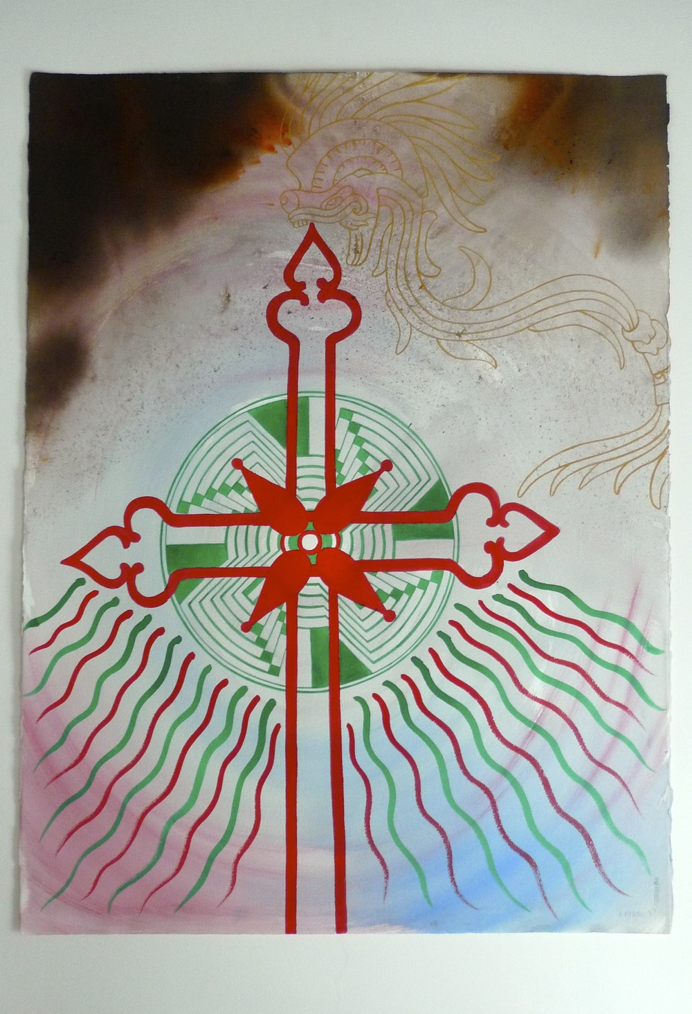 Mexico Ink / Gold Ink Arches Paper  2010  22 x 30""