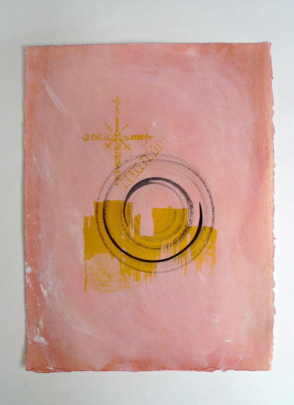 Spiral in Pink  Ink and paint on Arches  22 x 30""