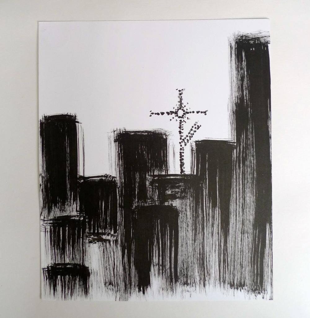 """Cross on Blocks II  Ink on paper  30"""" x 42"""""""