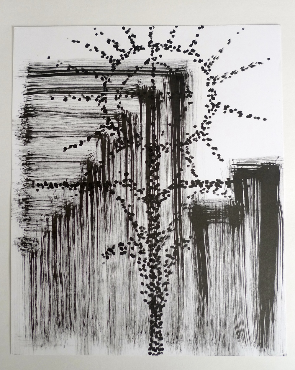 "Dotted Cross  Ink on paper  30"" x 42"""