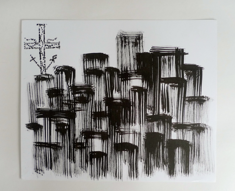 "Cross on Blocks III  Ink on paper  30"" x 42"""