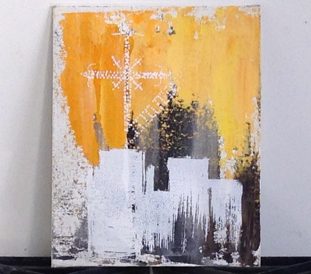 Chiapas Cross on City Roof   Acrylic on Canvas Panels    8 x 10""