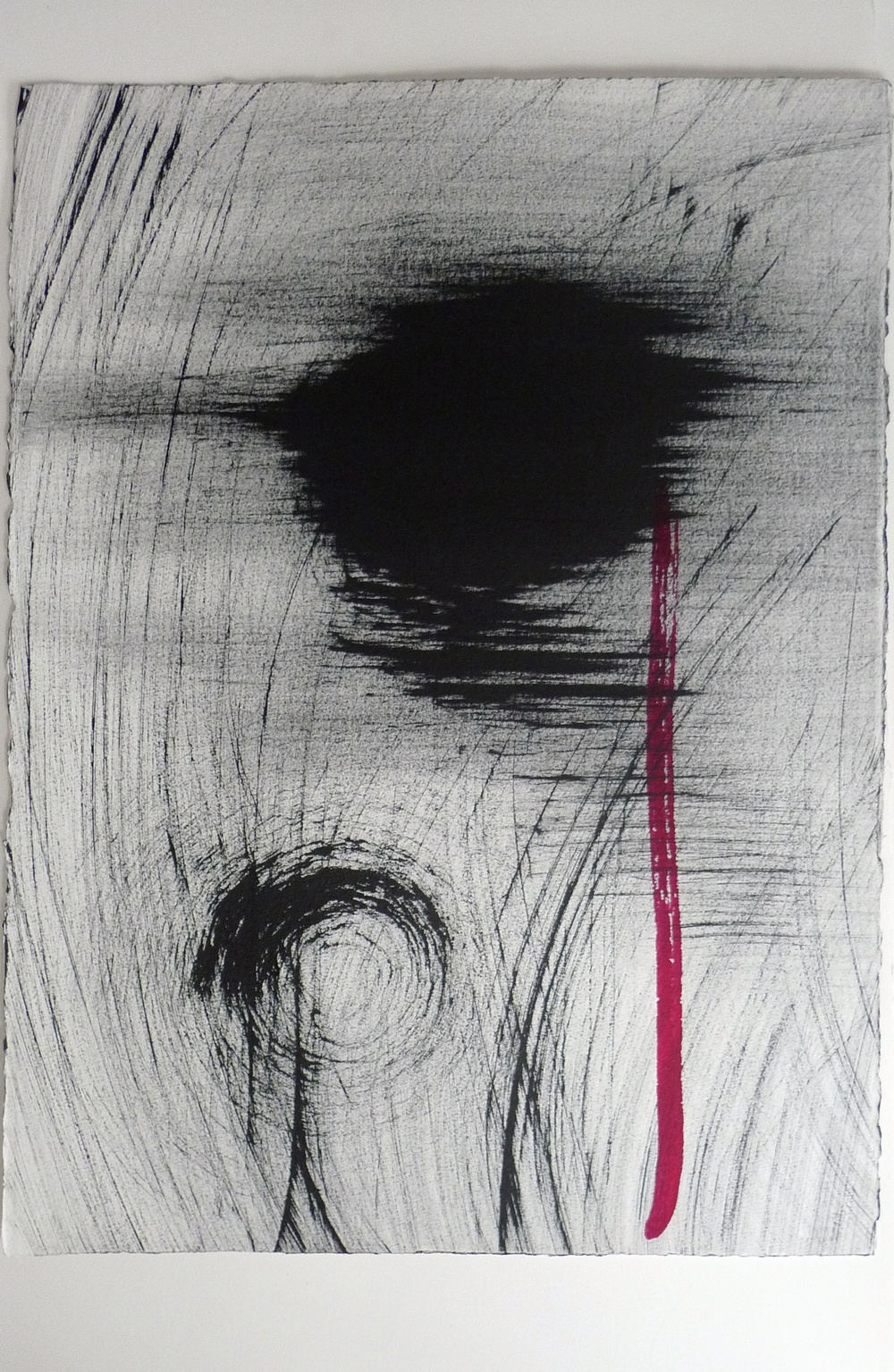 """Abstract Black Ink w/ Red Strip Arches Paper  22 x 30"""""""