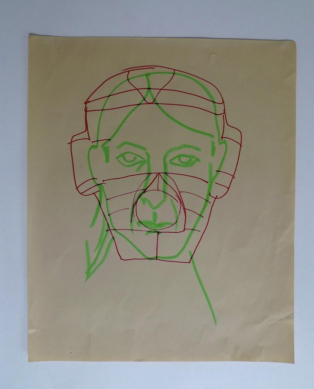 """Catcher 1  Newsprint / Sharpie Marker / Colored Pencil  14 x 17"""""""
