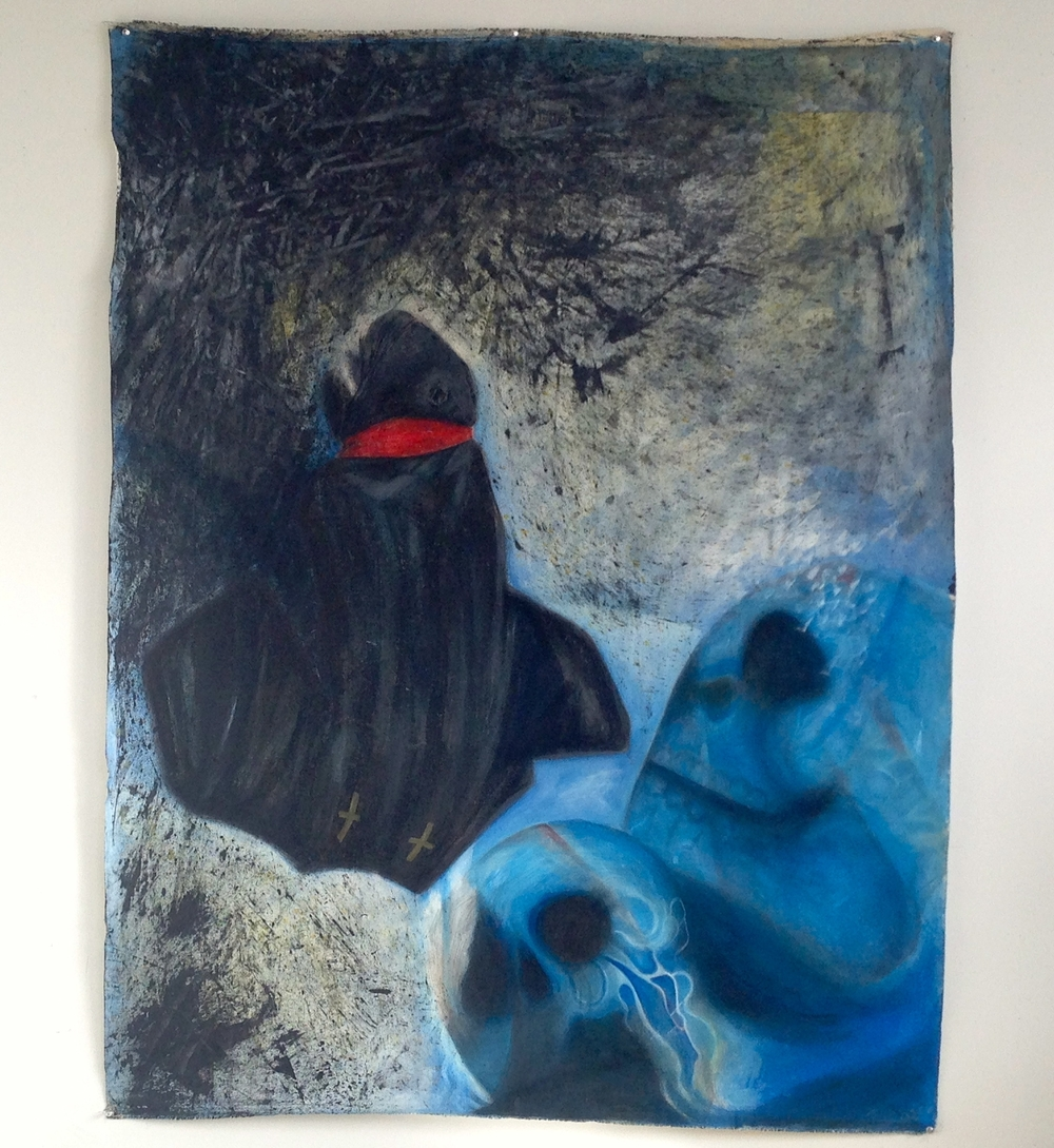 Witness & Skulls Acrylic / Ink  Unstretched Canvas