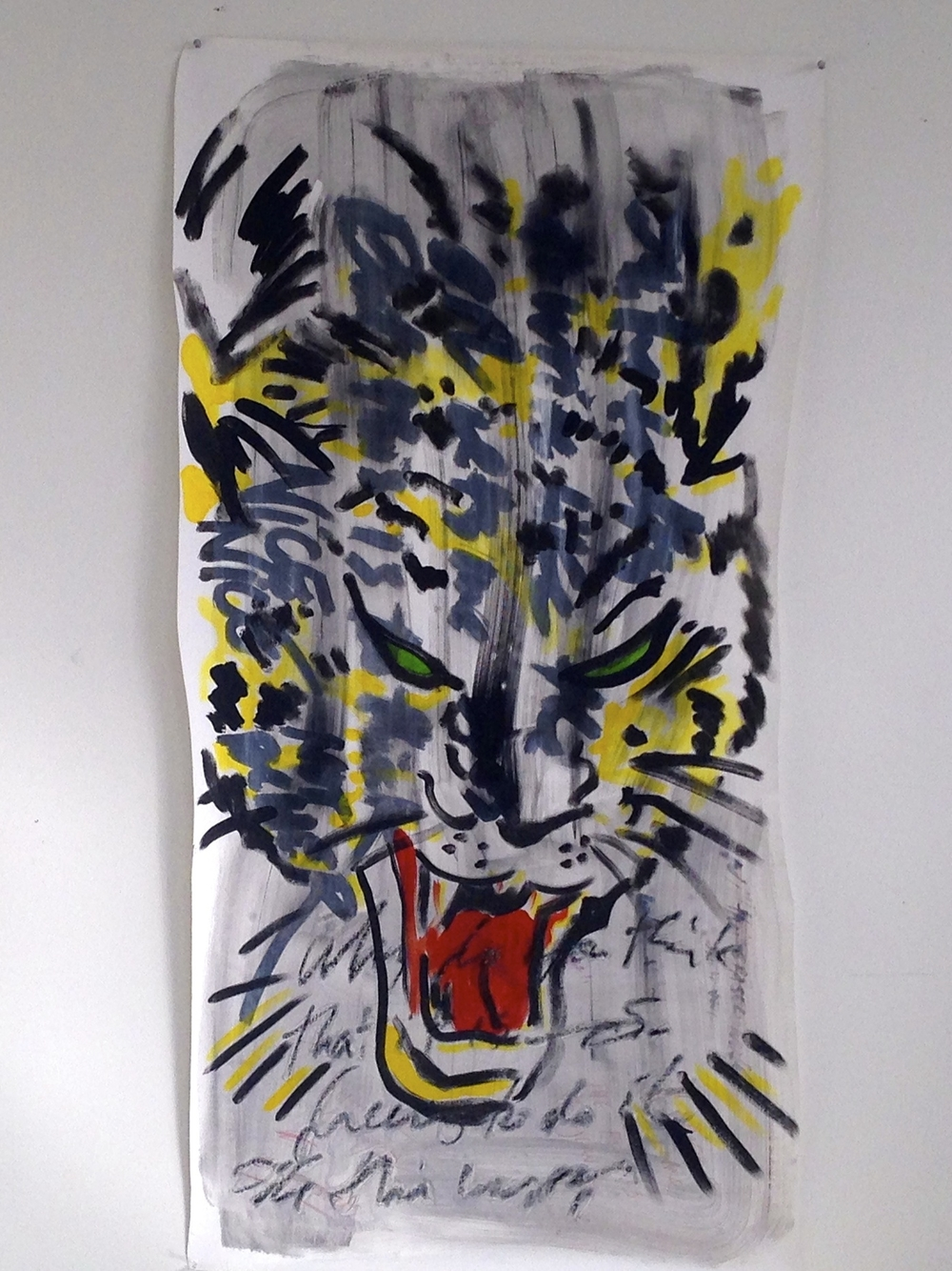 """Tiger Ink / Acrylic / Oil Crayons Unstretched Canvas  28 x 56"""""""
