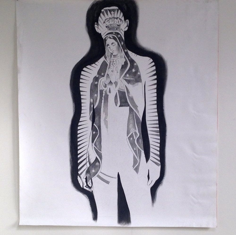 """Figure w/ Virgin De Guadalupe Unfinished Sumi Ink on Canvas  45 x 52"""""""