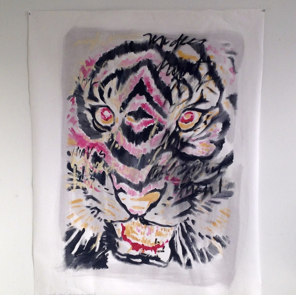 """Tiger Acrylic / Oil Text Unstretched Canvas  45 x 56"""""""