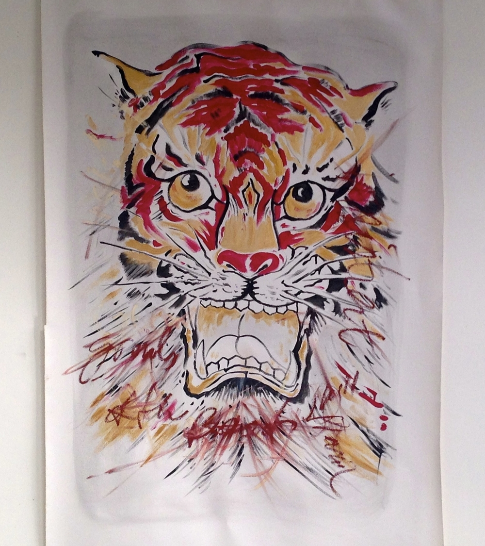 """Tiger Acrylic / Oil Text Unstretched Canvas  40 x 64"""""""