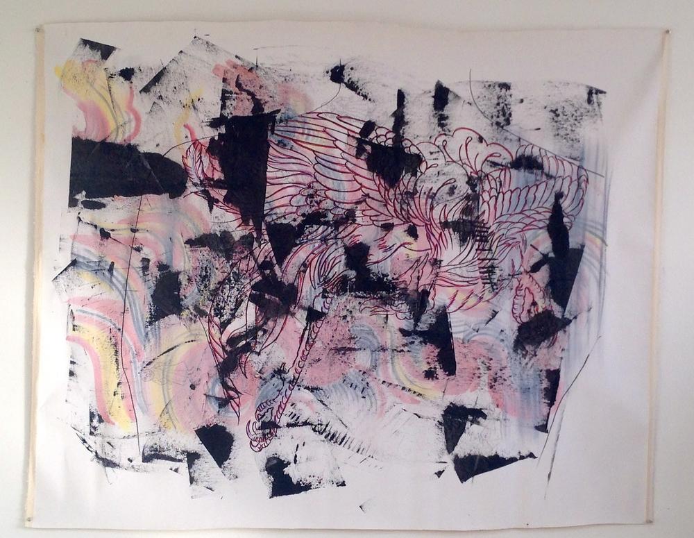 "Phoenix in Sharpie  Acrylic / Squeegee  64 x 45"""