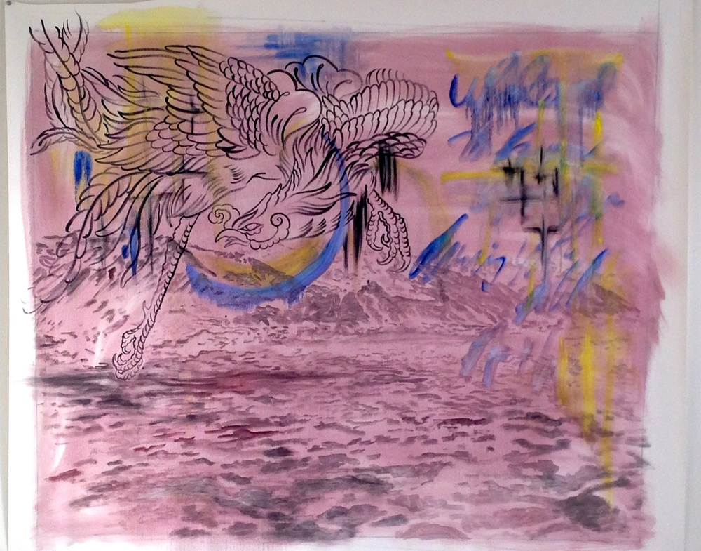 """Oil / Phoenix Landscape  56 x 48"""""""